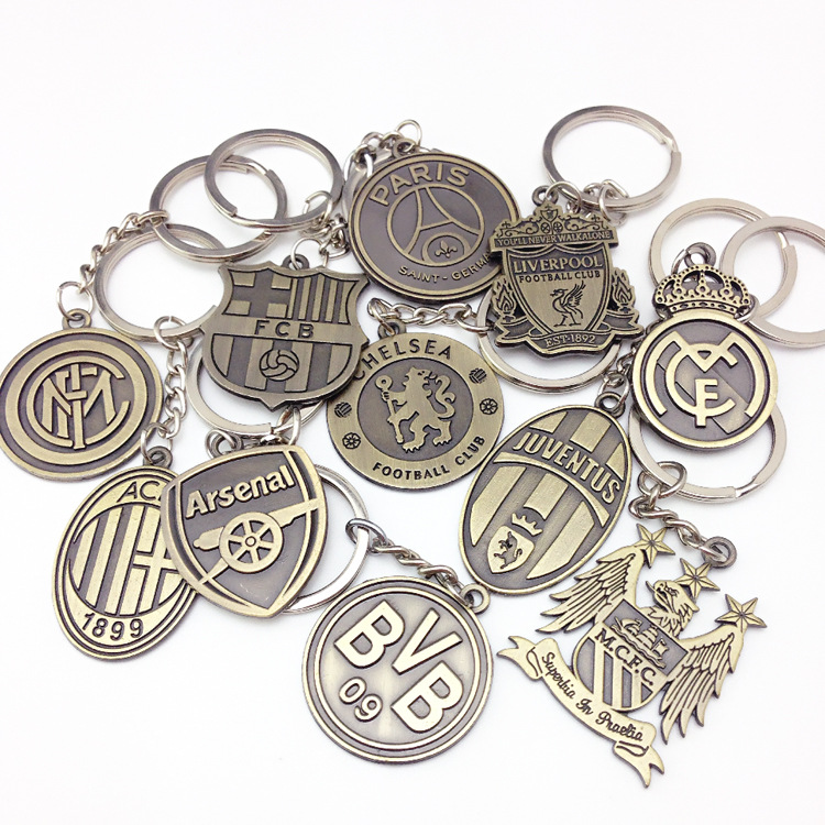 Car styling Football Club Key Chain Manchester Arsenal Juventus Inter Milan etc champion keyring Car Keychain souvenirs Key Ring
