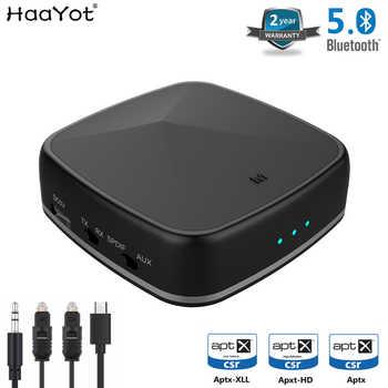 HAAYOT Aptx HD Bluetooth Empfänger Sender Drahtlose 3,5mm Aux RCA Optische SPDIF Audio Adapter CSR8675 Niedrigen Latenz für TV auto