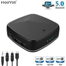 HAAYOT tecnología Aptx HD Bluetooth receptor transmisor inalámbrico de 3,5mm Aux RCA óptico SPDIF Adaptador de Audio CSR8675 baja latencia para TV Coche