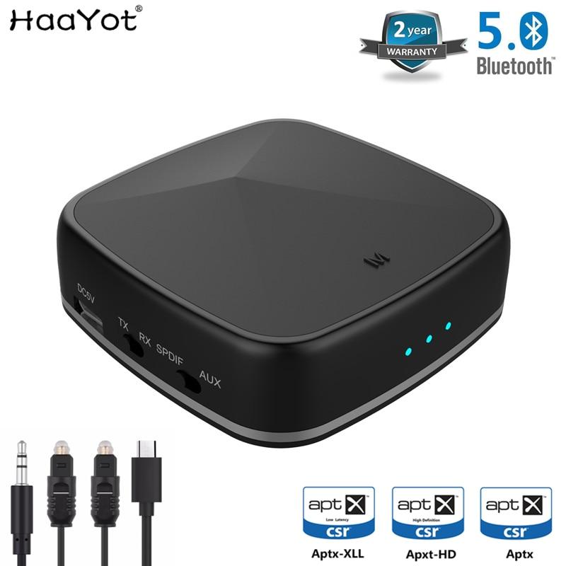 Haayot aptx hd receptor bluetooth transmissor sem fio 3.5mm aux rca spdif óptico adaptador de áudio csr8675 baixa latência para o carro da tevê