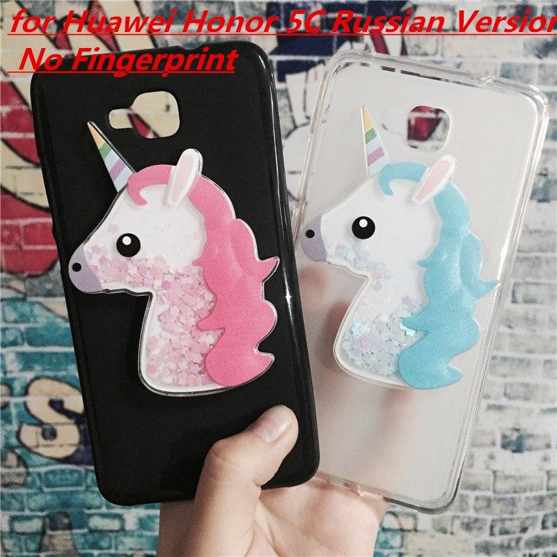 Galleria fotografica 3D Unicorn Quicksand Liquid Soft Silicone Case for Huawei Honor 5C Russian Version No Fingerprint Phone Cover Cartoon Diamond