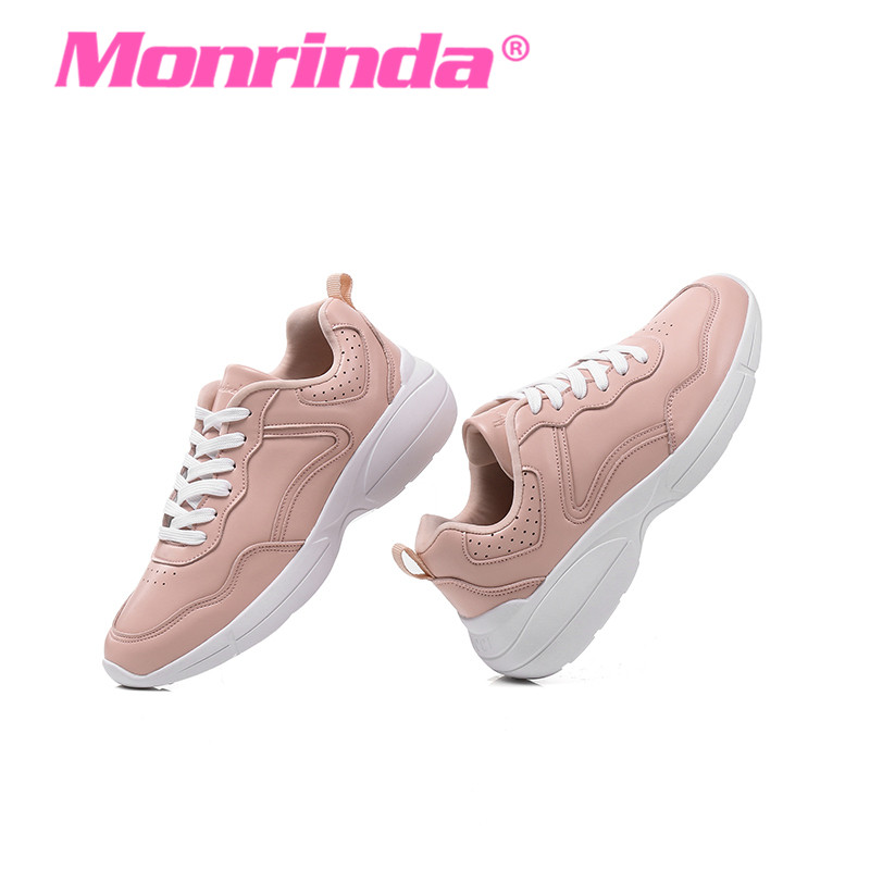 Monrinda Summer Pink Sneakers Women's Leather Running Shoes Comfortable Outsole Ladies Walking Shoe Girls Lace Up Sport Shoes men casual shoes summer pu leather sport flat walking lace up shoe mens trainers basket zapatilla hombre comfortable sneakers