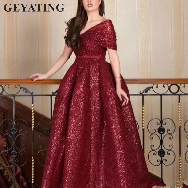 Arabian Long Burgundy   Evening     Dresses   2019 Glitter Sequins Kaftan Dubai Arabic Prom Party   Dress   V-Neck Cap Sleeve Robe de soiree