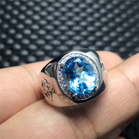Natural Topaz Stone Chunky Silver 925 Rings Men 100% 925 Sterling Silver Oval Natural Blue Stone Mens Jewelry With Certificate