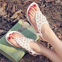 2016 New Summer Leather Flat Women Sandals Flip Flops Shoes Flower String Bead Bohemia Lady Beach Shoes Single Flat Slippers AK4