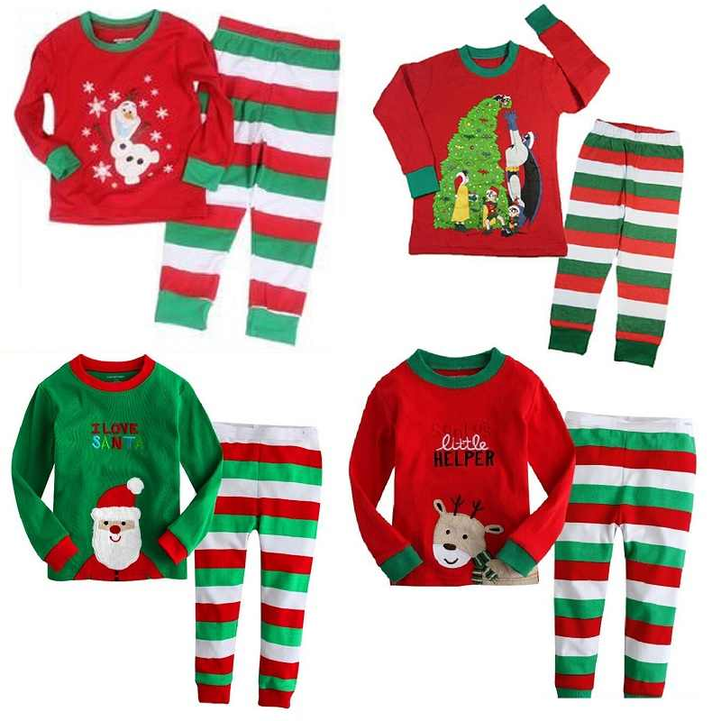 5c21026721 Detail Feedback Questions about Hooyi Boys Christmas Pajamas 100% Cotton Children  Red Santa T Shirt Green Red White Striped Trouser Girls Sleepwear Tree ...