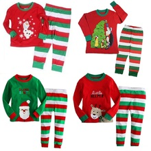 Hooyi Boys Christmas Pajamas 100% Cotton Children Red Santa T-Shirt Green White Striped Trouser Girls Sleepwear Tree Clothes