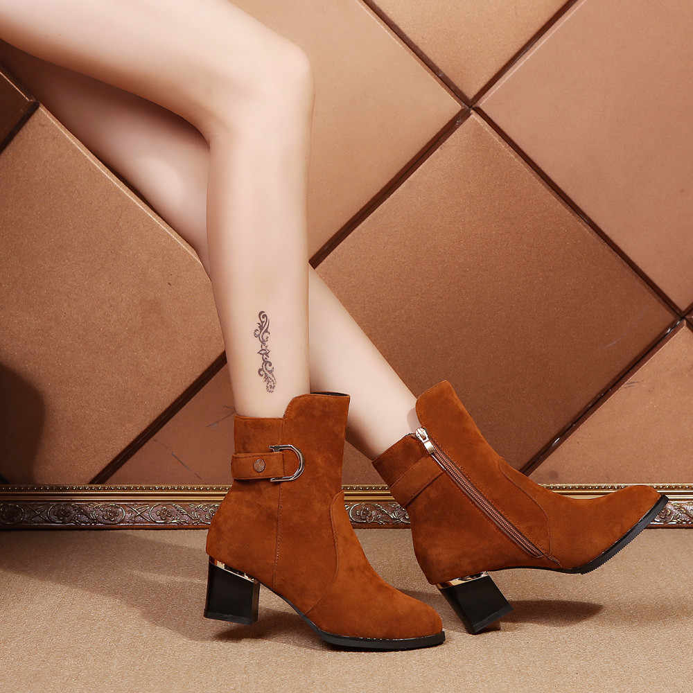 YOUYEDIAN Women Ankle Short Booties Middle Tube Suede Martin Boots Shoes Zipper Boot Middle Tube Suede Martin#a35