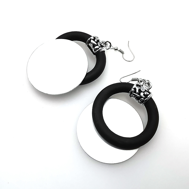YD YDBZ Handmade Round Aluminum Sheet Design Germany Style Women Drop Earrings Big Round Ear Jewelry Trendy Accessories Gift in Drop Earrings from Jewelry Accessories