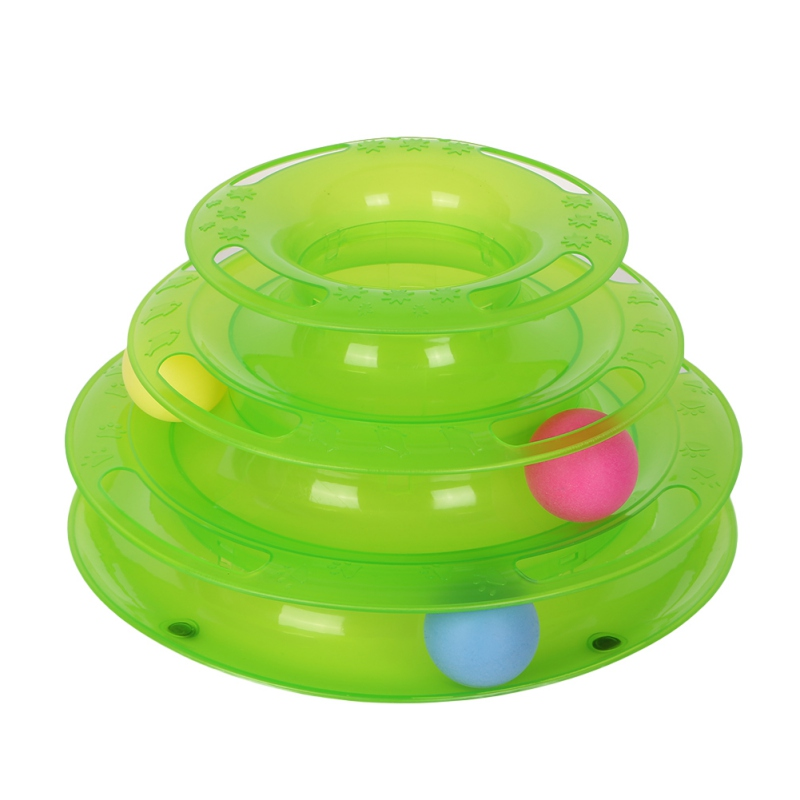 Pets Interactive Toys Cats Three-tier Turntable Pet Intellectual Track Tower Funny Triple Play Disc Cat Toy Plate 4 Balls 3 Ball