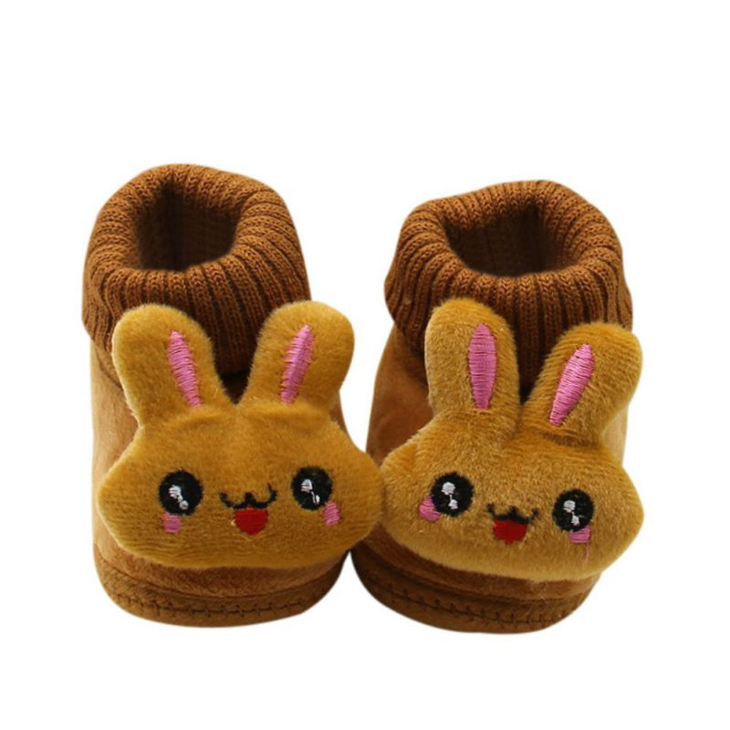 Newborn Kids Fleece Fur Snow Boots Laced Baby Shoes Winter Toddler Ankle Socks 0-18M