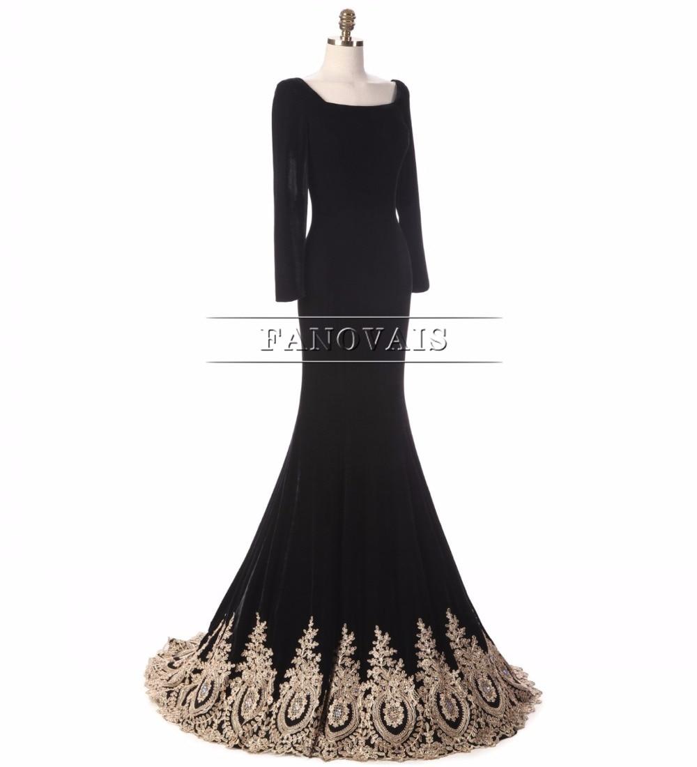 Virkelig bilde Muslim Dubai Gull Appliques Perler Velet Svart Kjole - Spesielle anledninger kjoler - Bilde 3