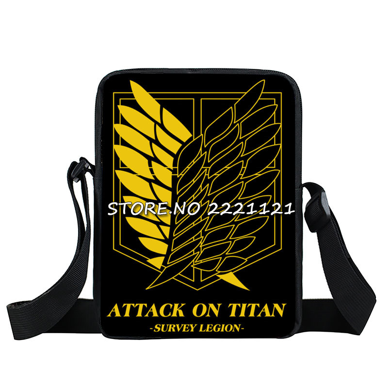 Anime Attack on Titan Mini Messenger Bag Boys Ataque On Titan School Bags Mikasa Ackerman Eren Shoulder Bags Kids Crossbody Bag anime shingeki no kyojin shoulder bag attack on titan sling pack school bags messenger bag travel male men s bag