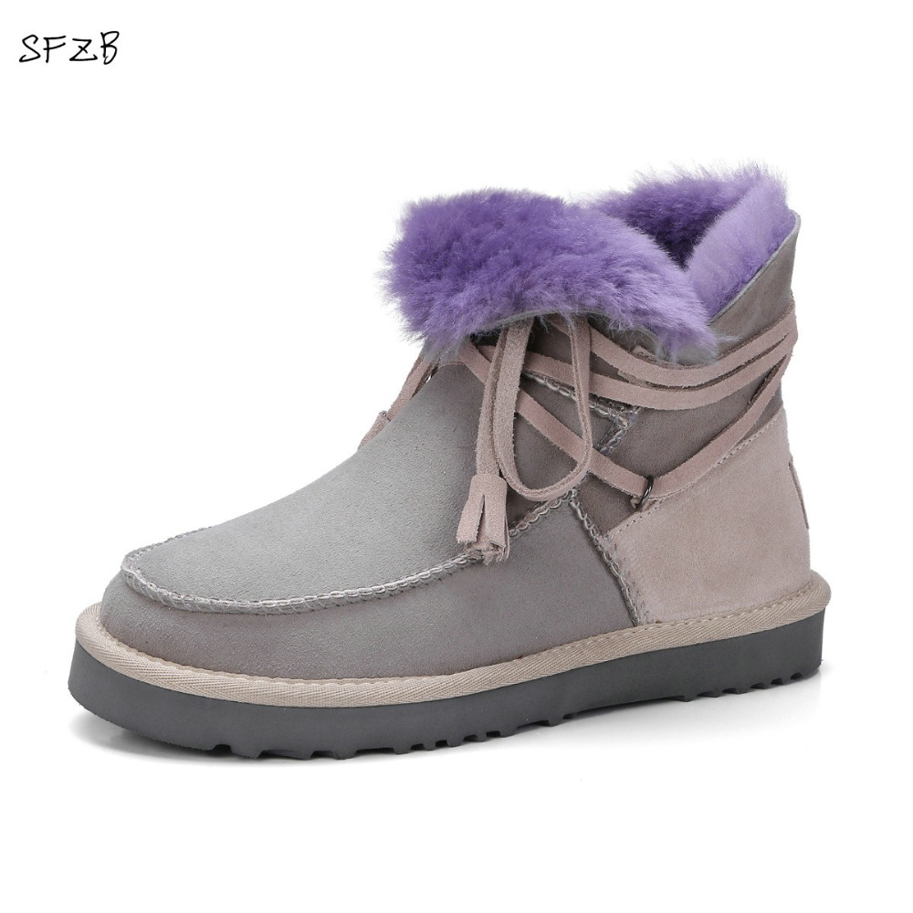 SFZB real sheepskin leather short suede women winter snow boots with button sheep fur lined woman winter shoes brown black цены