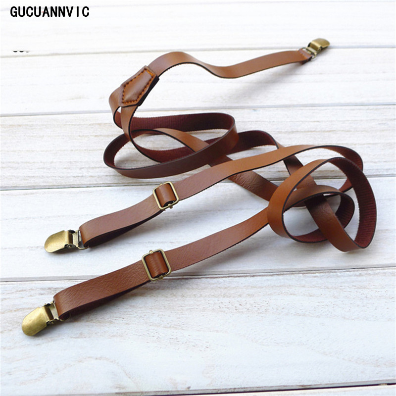 Vintage British Retro Leather Tri-clamp Strap  Leather Suspenders Women Decorated Korean Narrow Braces Men Section 1.5CM
