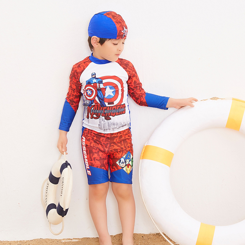 2018 Newest super man printed two piece swimwear long sleeve surfing suit for children sports beachwear