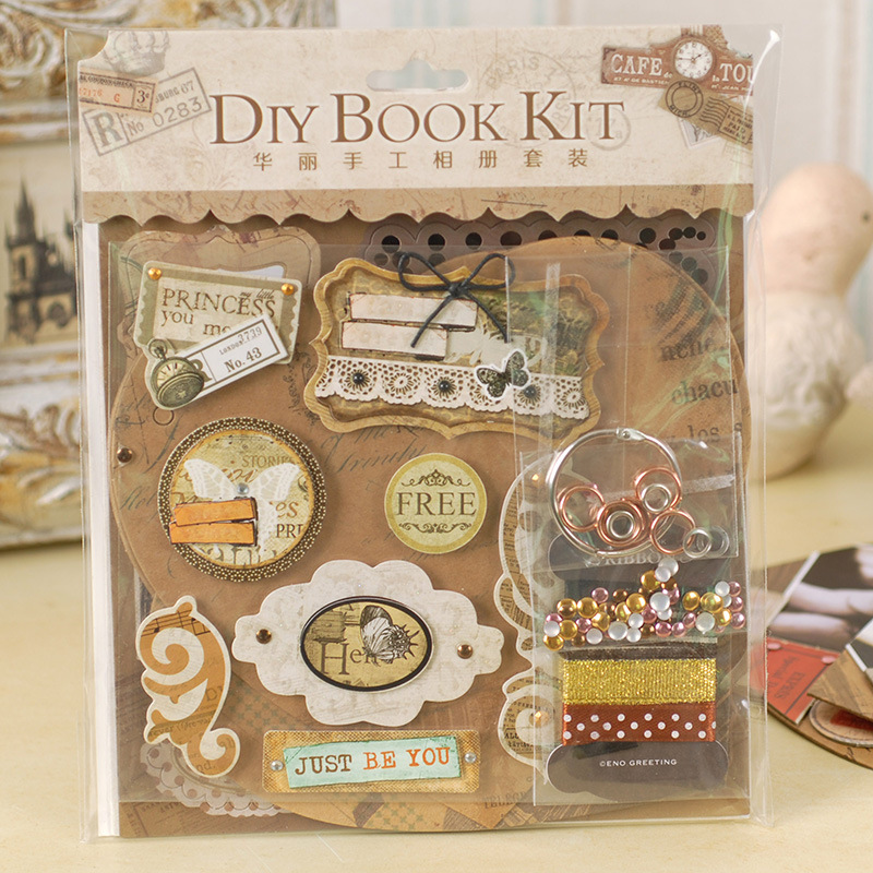diy photo album making kit vintage scrapbook album set for kid birthday wedding scrapbooking. Black Bedroom Furniture Sets. Home Design Ideas