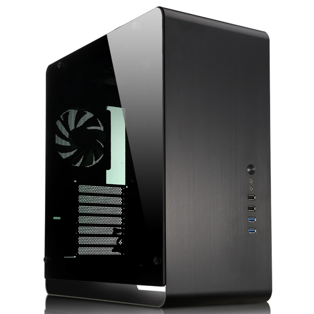 ATX aluminum computer case UMX4 black Tempered glass Side Transparent  version  large-panel Jonsbo Chassis