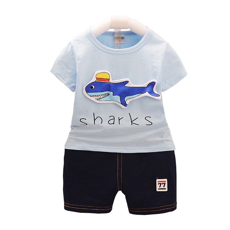 baby clothes summer newborn kids clothing sets for boy short sleeve shirts + jeans cool denim shorts suit 12M-3year ...