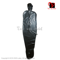 Black vacuum Latex catsuit With hood opne nose leotard Back zipper Rubber jumpsuit Catsuit bodysuit body suit CQ 020 plus size