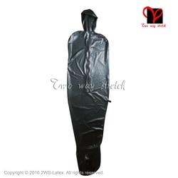 Vuoto nero catsuit del Lattice Con cappuccio opne naso calzamaglia cerniera Posteriore In Gomma tuta Catsuit tuta vestito del corpo CQ-020 plus size
