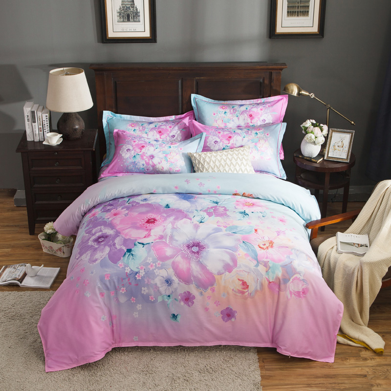 Bright Colored Floral Printed Bedding Set 4pcs Queen King Size Cotton Duvet Covers Bedsheets Pillowcase Home Decor Textile SetsBright Colored Floral Printed Bedding Set 4pcs Queen King Size Cotton Duvet Covers Bedsheets Pillowcase Home Decor Textile Sets