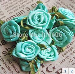 Free Shipping Satin Ribbon Flower with Leaf for Garment Accessory Dress Accessory