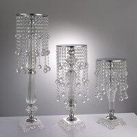 ornaments home crafts decor chandelier wedding flower crystal wedding table certerpieces flower vase stand cake pan holder