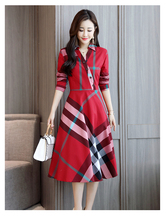 Fashion Slim-Fit Plaid Dress Long Section Spring And Autumn New Style Women Waist Temperament Retro Dress Tide free retro cut out plaid fit and flare dress