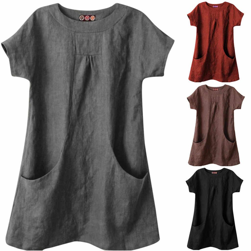 Women/'s Summer Casual T-Shirt Round Neck Short Sleeve Blouse Loose Dress Pockets