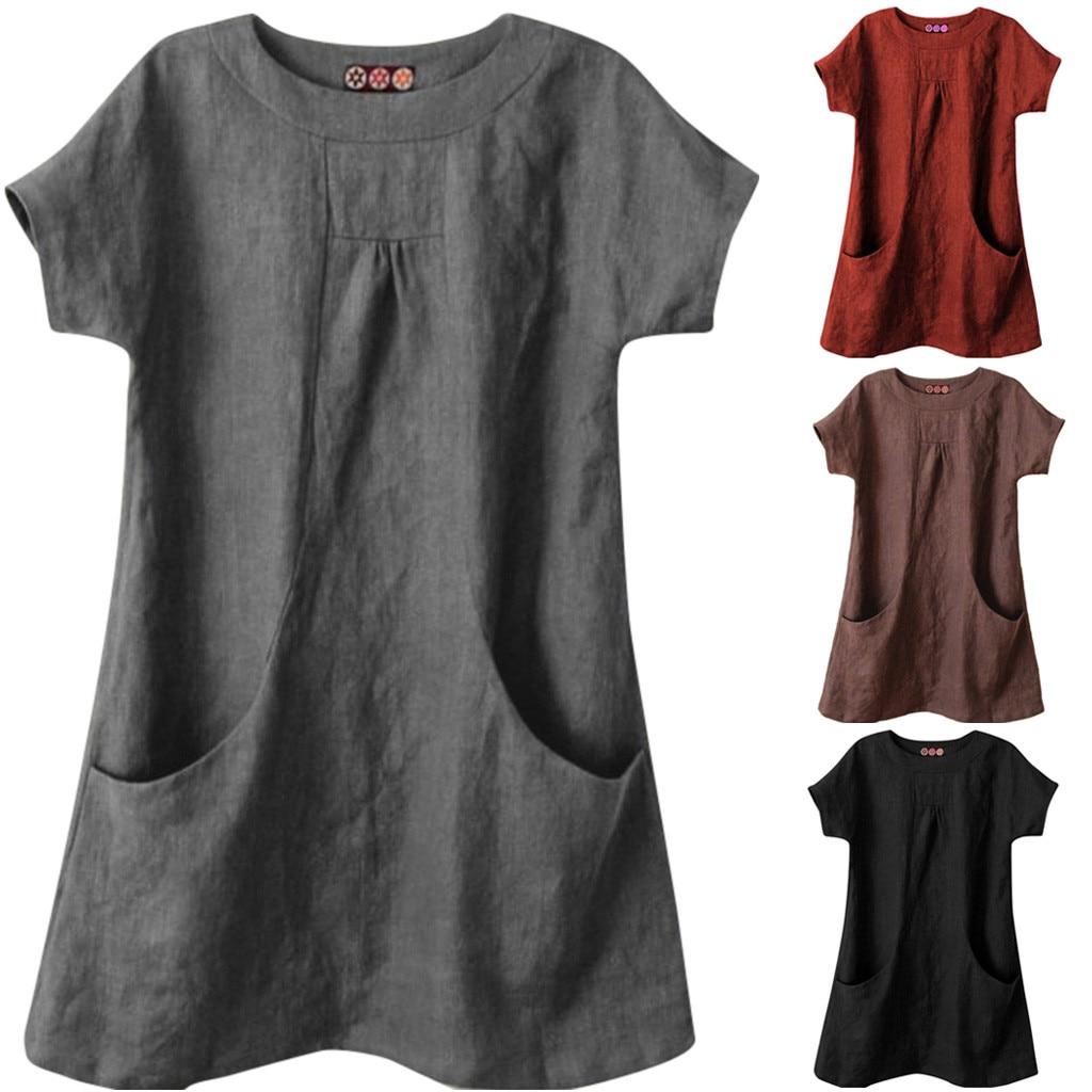 Летние топы женские повседневные однотонные с круглым вырезом и коротким рукавом женские рубашки льняная Свободная блуза с карманами de mujer verano 2019 Блузки и рубашки      АлиЭкспресс