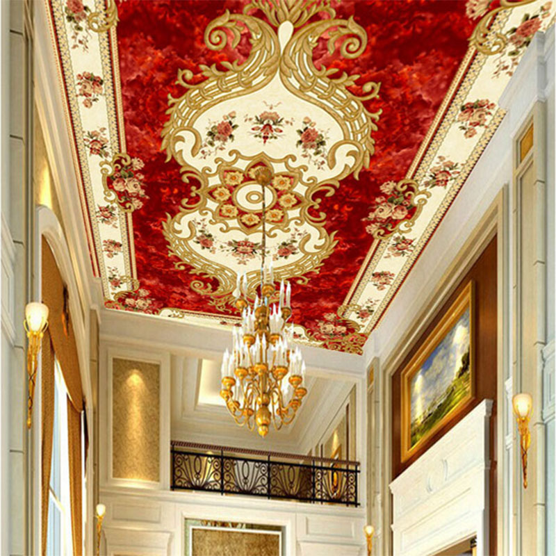 Personalized Customization Red Flower Texture 3D Ceiling