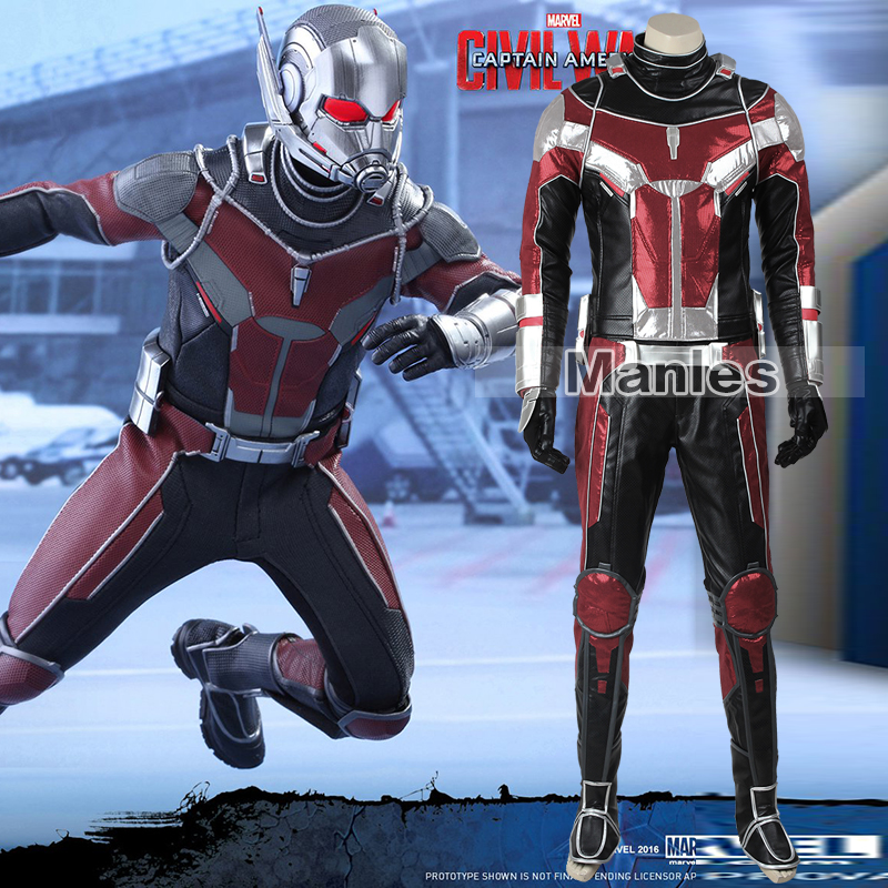 Captain America Civil War  Ant-Man Cosplay Cosutme Scott Lang Superhero Ant-Man Costume Halloweens Costume Adult Men Male