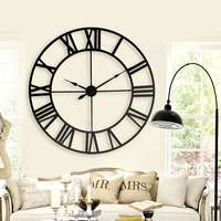 New 80 Cm Modern 3D Large Retro Black Iron Art Hollow Wall Clock Roman Numerals Home Decor Big clock on the wall