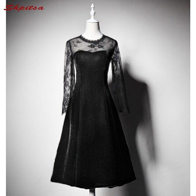 Long Sleeve Lace Cocktail Dresses Women Black Knee Length Evening