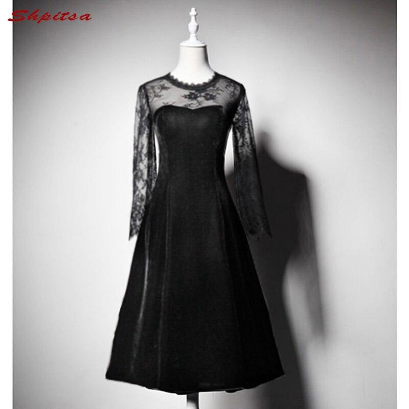 Long Sleeve Lace   Cocktail     Dresses   Women Black Knee Length Evening Prom Coctail Party   Dresses   vestido de festa curto coctel