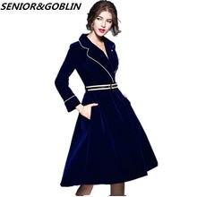 59f5c7c8d40af47 2019 высокое качество женское темно-синее бархатное платье Осень женское  большое зубчатое вечернее платье vestidos Дамская зимня.