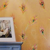 Di lusso Della Piuma Del Pavone 3D Impermeabile di Spessore In Vinile Goffrato Carta Da Parati KTV Murale TV Divano Sfondo Carta Da Parati Rivestimento Murale Decor