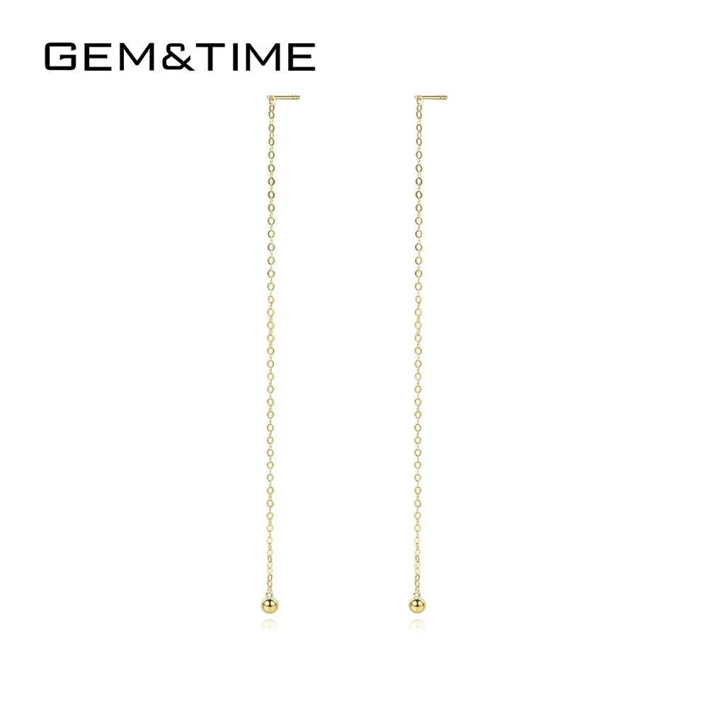 Gem & Time Real 18K or Long gland boucles d'oreilles goutte pour les femmes lien chaîne boucles d'oreilles bijoux fins or jaune Brinco AU750 GE0012