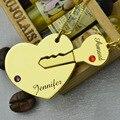 A chave Para O Meu Coração Casais Nome Do Conjunto de Colar De Ouro Gravado Birthstone Iniciais Colar BFF Colar Amor Jóia Do Coração e Chave