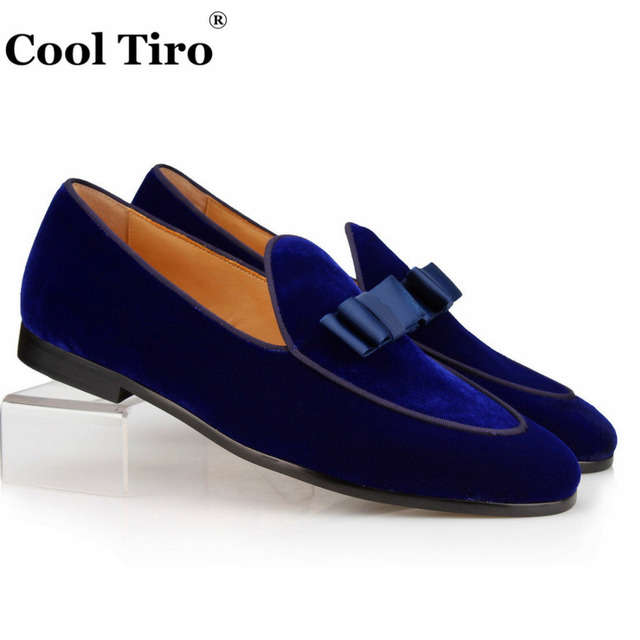 New Style Blue Velvet Slippers Men Loafers Navy Bowknot Prom and ...