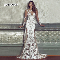 Long Bridesmaid Dress Wedding Party Sexy Floral Embroidery Dress White Lace Female Clothing Gown Women Vestidos