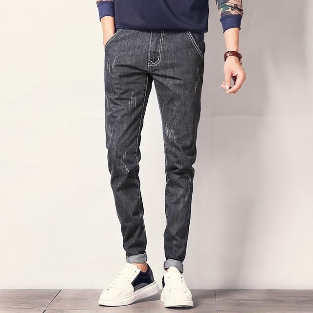 New Fashion Ripped Men Jeans Black Blue Stretch Mens Denim Pants Korean Style Slim Fit Casual Male Trousers Plus Size 40