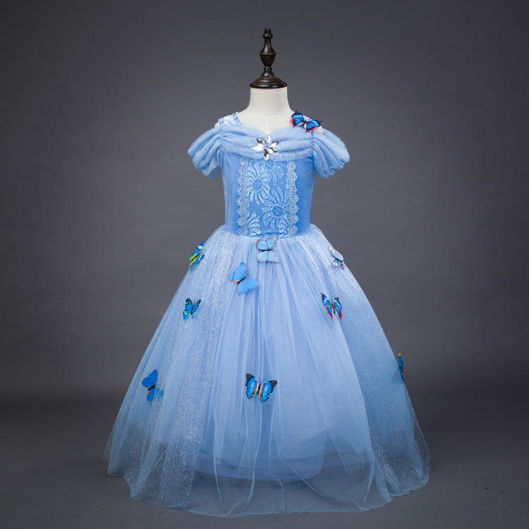Girl Dress Summer 2017 Kids Dresses for Girl Cinderella Snow Queen Elsa Anna Lace Dress Wedding Dress Party Girl Clothes