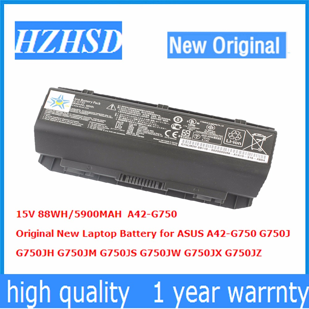 15V 88WH 5900MAH Original New Laptop font b Battery b font for ASUS A42 G750 G750J