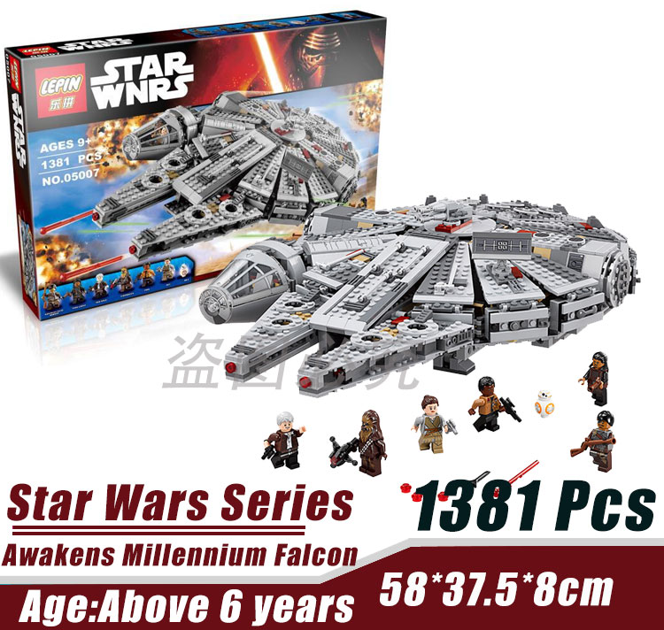 LEPIN 05007 Millennium Falcon Force Awakening Star Wars Minifigure Building Block Bricks Toys Compatible with Legoe