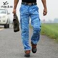 Promoción de los hombres Masculinos hombre navy otoño pantalones de Camuflaje 100% pantalones de algodón de herramientas multibolsillos ocasionales flojos pantalones de envío gratis