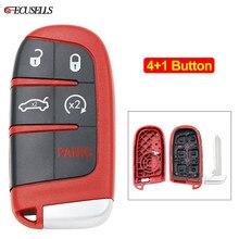 4+ 1/5 пуговицы новая Замена Дистанционное оболочка для Smart ключа чехол для Chrysler 300 Для Dodge Challenger, Charger Dart Durango для Jeep красный