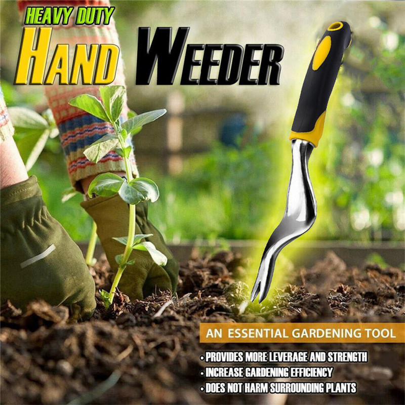 Forked Head Hand Weeder Puller Patio Wood handle Garden Remove Weeds 8C