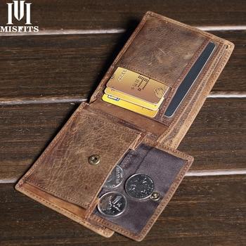 MISFITS Vintage Crazy Horse Leather Men Wallets 100% Genuine Brand Coin Purse with Credit Card Holder Male Short Wallet